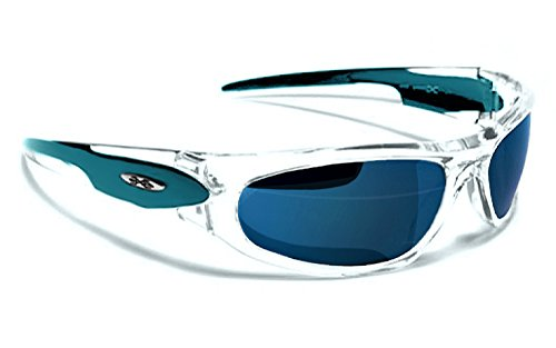 Occhiali da sole x-loop - sport - ciclismo - sci - mtb - moto - running / mod. 012p turchese traslucido ice blu iridium specchio