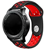Elespoto 20MM Reemplazo liberación rápida Correa de Reloj Silicona Hebilla Pulsera para Samsung Gear S2 Classic SM-R732 / SM-R7320, Motorola Moto 360 2nd Generacion 42mm Huawei Watch (Black Red 1)