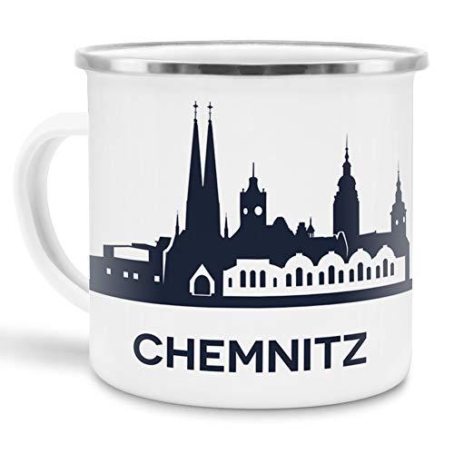 Tassendruck Emaille-Tasse mit Skyline von Chemnitz - Souvenir/Edelstahl-Becher/Metall-Tasse