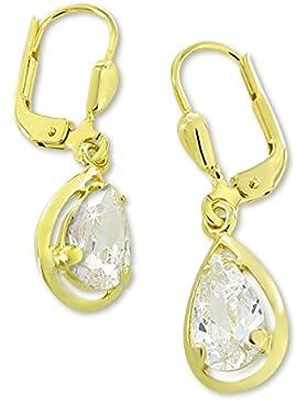 VASCAYA Damen Ohrhänger Ohrring Tropfen Zirkonia weiss Gold 333 Geschenk