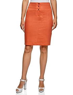 oodji Collection Mujer Falda de Lino Recta