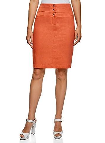 oodji Collection Femme Jupe Droite en Lin, Orange, FR 42 / L