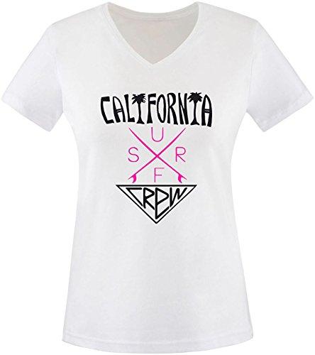 EZYshirt® California Surf Crew Damen V-Neck T-Shirt Weiss/Schwarz/Pink