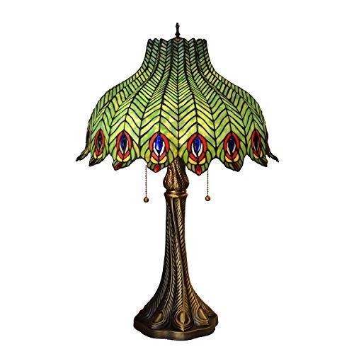 40w Nacht Licht (16 Zoll Tiffany Stil Tischlampen Kreative Glasmalerei Zink-legierung Basis Dekorative Schreibtischlampen Nacht Reißverschluss Licht E27 MAX 40 Watt × 2)