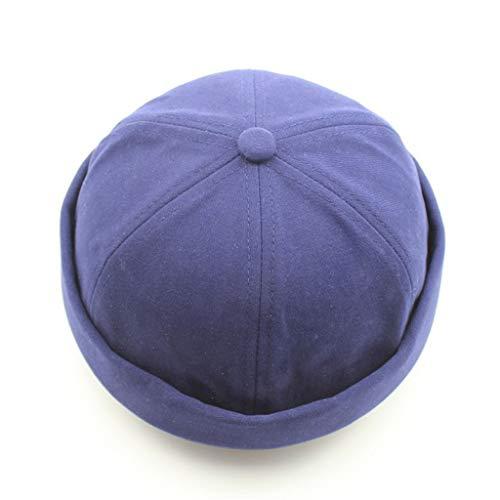JYJM Bob Homme Femmes Docker Bonnet Neuf Urban Style Bord Roulé rétro Travailleur Marin Casquette Unique Street décontracté Brimless Chapeau(Bleu,One Size)