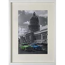 BD ART 30x40 cm Marco de fotos con paspartu para fotos 21x30 cm (A4), Blanco