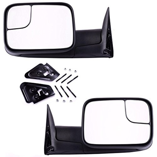 DEDC Dodge Tow Mirrors Dodge Ram 1500 2500 3500 Pair Manaul Folding With Support Brackets Set For 1994-2002 Dodge Ram 1500 2500 3500 by DEDC