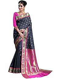 Craftsvilla Women's Silk Traditional Peacock Border & Buti Work Navy Blue Saree With Blouse Piece
