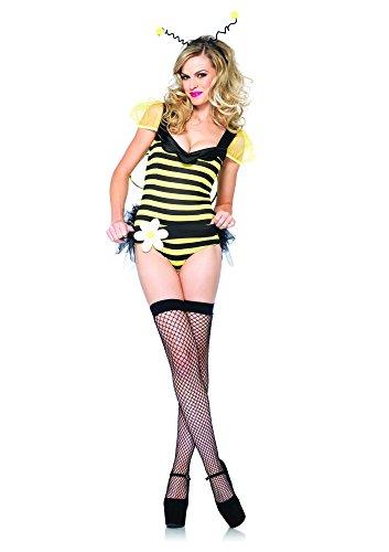 Leg Avenue 85235 - Bumble Bee Babe Kostüm Set, 4-teilig, Größe S, schwarz/gelb (Bumble Bee Erwachsene Halloween-kostüm Für)
