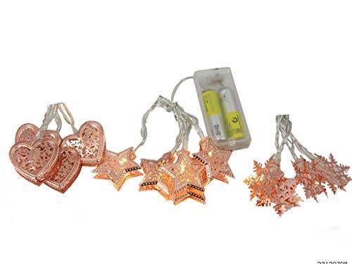KAMACA Dekorative und stilvolle LED Mini - Lichterkette mit 8 kupfer - farbenen Metall - LED Lichtern in warm weissen - zur Auswahl stehen mehrere Formen - aus Metall mit einem wundervollen ornamentartigem Muster versehen - batteriebetrieben - Gesamtlänge inklusive Zuleitung 90 cm - für den Innen - Bereich geeignet - Neu - aus dem KAMACA-SHOP (Herzen) -