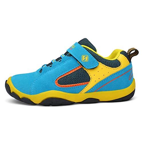 Unpowlink Kinder Schuhe Sportschuhe Ultraleicht Atmungsaktiv Turnschuhe Klettverschluss Low-Top Sneakers Laufen Schuhe Laufschuhe für Mädchen Jungen 28-37 (31 EU, Blau) Low Top Schuhe