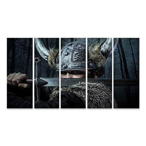 islandburner, Bild Bilder auf Leinwand Verteidigung, Wikinger-Krieger, im barbarischen Stil gekleideter Mann mit Schwert, bärtig Wandbild, Poster, Leinwandbild OSM-5P-DE6
