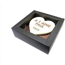 """CHOCOLAT SAINT VALENTIN COFFRET NINA """"Maxi coeur en chocolat personnalisé avec votre texte"""" - COFFRET noir et rouge - CHOCOLAT ARTISANAL 60g - COFFRET CADEAU CHOCOLAT ST VALENTIN"""