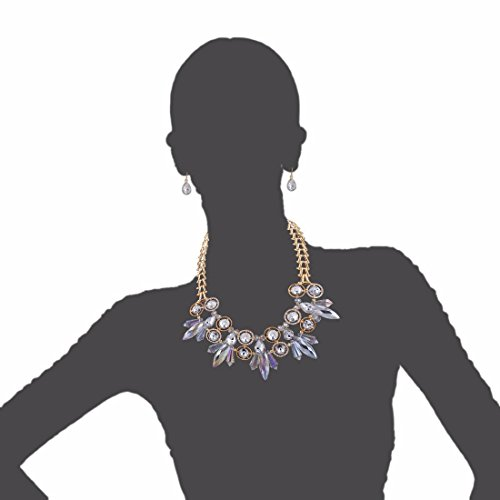 QIYUN.Z Collier Femmes Teardrop Boucles D'Oreilles Cristal Imitation Pierre Bib Choker Blanc