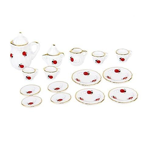 15 Stück 1/12 Puppenhaus Miniatur Restaurants Ware Porzellan Tee Satz Gericht Tasse Teller Marienkäfer (Porzellan Spielzeug)