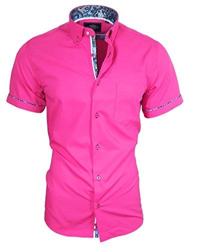 Louis Binder de Luxe Herren Hemd mit Brusttasche Kurzarm Shirt Modern Fit Button-Down-Kragen 82910 Magenta rosa XL - Rosa Button Down Shirt