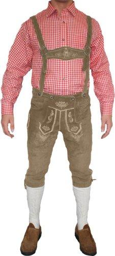 German Wear, Trachten Lederhose Kniebundhose trachtenhose Hose mit Hosenträger, Größe:52;Farbe:Beige