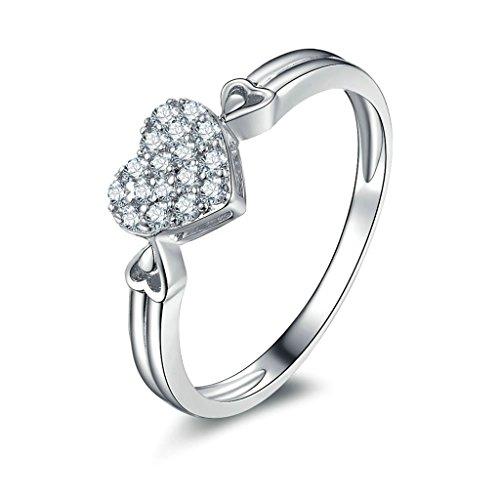 Daesar Silberring Damen Ring Silber Ehering für Damen Verlobungsring Benutzerdefinierte Ring Herz Strass Ring Größe:50 (Naruto Kostüme Benutzerdefinierte)