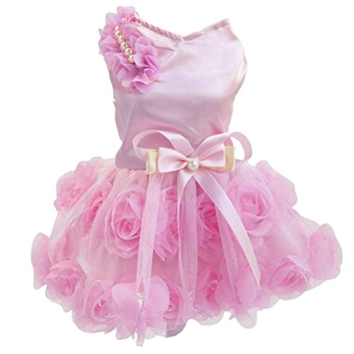 Kostüm Pink Rock Pudel - AMURAO Ganzjahres Haustier Hund Kleid Hochzeit Hunde Kleidung Chihuahua Brautjungfer Bowknot Kleidung Pudel Kostüm