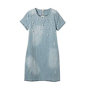 6cd8134e268b17 5 ALL Damen Sommer Elegant Jeanskleid Beiläufige Rundhals Kurzarm A-Linie  Denim Perlen Strandkleid Abendkleid Minikleid Partykleid Blusenkleid