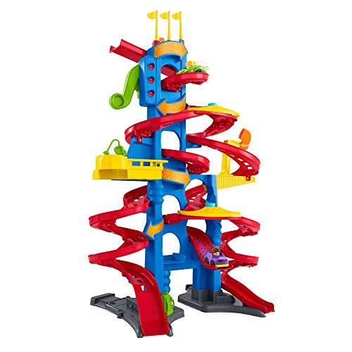 Fisher-Price FXK59 - Little People Hochhaus Rennbahn, Rollbahn mit Geräuschen und 2 Spielfiguren, ca. 93 cm hoch, Kleinkind Spielzeug ab 18 Monaten (Rennbahn)