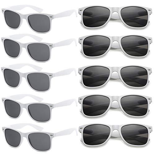 FSMILING Großhandel Nerd Sonnenbrille Bunt Set UV400 Retro Design Stil Unisex Brille - 10 (10 Stück Weiß) (Großhandel Brille)