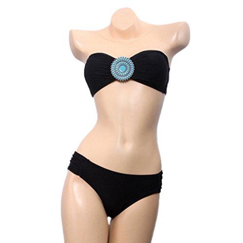 bikini Push Up 2 pièces Bandeau sans bretelles et bas de maillot de bain maillot de bain à pois - C