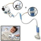 Soporte Universal para Cámara de Bebé, 85cm Sostenedor de Vigilabebés con Correas, Accesorios de Baby Monitor con Manguera Flexible, Compatible con La Mayoría de Los Monitores para Bebés Azul BP138