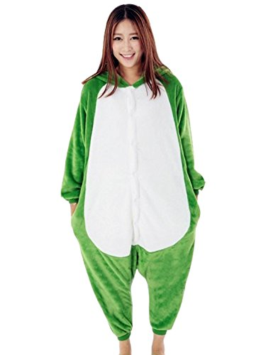 Smartstar Unisex Pyjama Cosplay Kostüm für Halloween Fasching Karneval, Einteilliges Tierkostüm Schlafanzug Nachtwäsche Jumpsiut - Frosch Größe M für Körpergrößer 158-168cm (Frosch Baumwoll-schlafanzug)