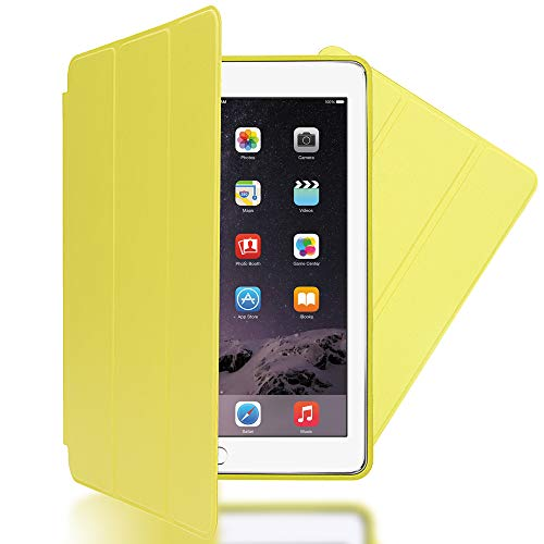 patibel mit iPad Air 2, Ultra-Slim Cover Dünne Tablet Schutzhülle, Kunst-Leder Hardcase Multi-Ständer Tasche, Display-Schutz & Backcover Flip-Case Klapphülle Sleeve - Gelb ()