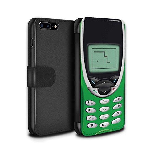 STUFF4 PU-Leder Hülle/Case/Tasche/Cover für Apple iPhone 8 / Hellgrün Nokia 8210 Muster / Vintage Handys Kollektion Grünes Nokia 8210
