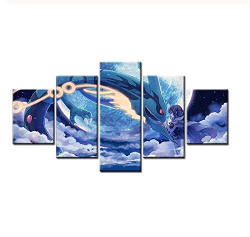 JRDWLH Leinwanddrucke 5 Panel Pokemon Cartoon Movie Poster Animation Bild Wandkunst Moderne Wohnzimmer Dekoration Malerei (A) Mit Rahmen-Gemälde