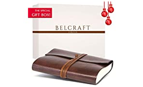 Tivoli Large Recycled Leather Bound Journal, MADE IN ITALY, Writing Notebook, Memory Book, Travel Diary & Notepad, Gift Idea, Christmas Gift for Man & Woman, Including SPECIAL GIFT BOX, A5 (15x21 cm) Brown