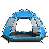 J.SPG Automatisches Zelt Viele Leute Doppelschicht 2-3 Leute Sechseckiges großes Zelt Im Freien Camping Regen Sonnencreme Belüftung,Blue