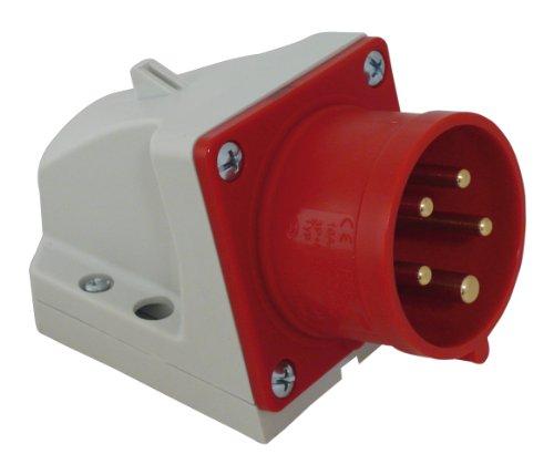 REV CEE WANDGERÄTESTECKER 5-polig 16A 400V~ – Made in Europe ǀ CEE Wand-Stecker für Industrie Handwerk Landwirtschaft ǀ spritzwassergeschützt IP44 ǀ Farbe: rot