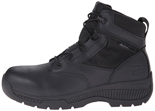 Timberland PRO Men s 6 inch Valor Soft Toe Waterproof Work Boot  Black Smooth Leather Ballistic Nylon  3 5 M US