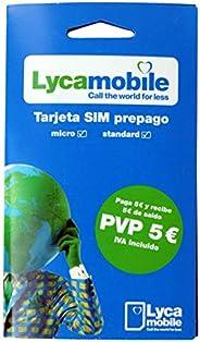 Tarjeta SIM Lycamobile - 5€ de saldo - llamadas nacionales e internacionales - Internet móvil - cobertura Movi