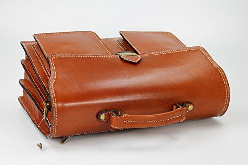 Belli sac à main design ® «b» étui attaché-case en cuir unisexe couleur au choix :  40 x 30 x 14 cm (l x h x p) Cognac (Kontrastnaht)