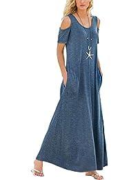 Asvivid Womens Cold Shoulder Short Sleeve Tunic Elegant Long Maxi Dress Pockets S-XXL