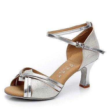 Silence @ pour femme Chaussures de danse latine en similicuir Talon cubain Argenté/doré doré