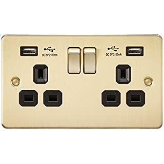 Knightsbridge FP9902BB FPAV9902BB Flat Plate 13A 2G Switch Socket with Dual USB Charger-Brushed Brass with Black Insert