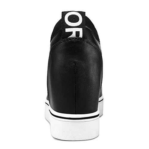 Damen Frühling und Sommer Dicke Sohle Schnürsenkel Elastische Keilabsatz Lässige Sportliche Flach Slip On Sneakers Schwarz