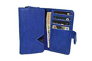 TOTTA PU Leather Wallet Pouch with Card Holder For Aquaris E5- BLUE
