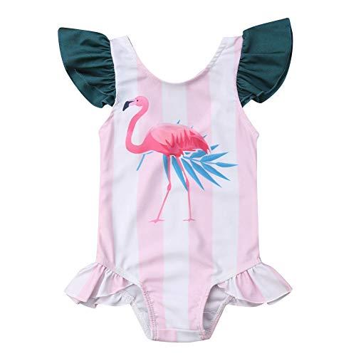 BriskyM Säuglingsbaby-Mädchen-Sleeveless Flamingo-Rüschen-einteiliger Bikini-Badebekleidungs-Strand-Badeanzug (Rosa, 3-6 Months) (Mo 3 Badeanzug)