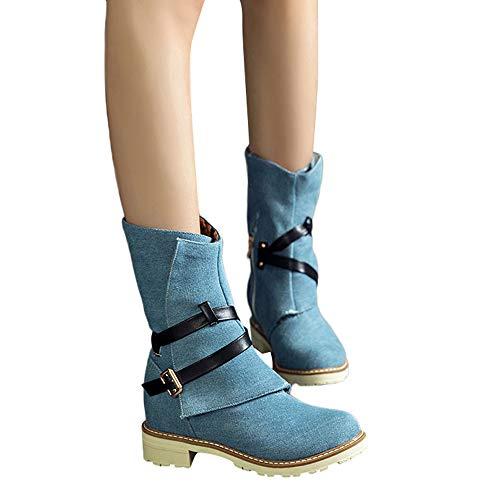 OSYARD Damen Schneestiefel Halbschaft Stiefel Stiefeletten Biker Boots Übergrößen Frauen Wedges Booties Middle Tube Leinwand Stiefel Schuhe Schnalle Boot (260/43, Blau)