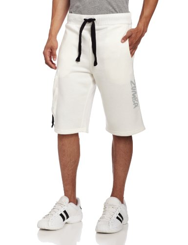 Zumba Fitness Herren Lunar French Terry Shorts, Herren, weiß, Large (Zumba Fitness Cardio)