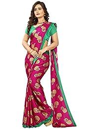 Jaanvi Fashion Women's Peacock Printed Kalamkari Printed Saree