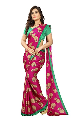 Jaanvi Fashion Women's Peacock Printed Crepe Silk Kalamkari Printed Saree (Pink)