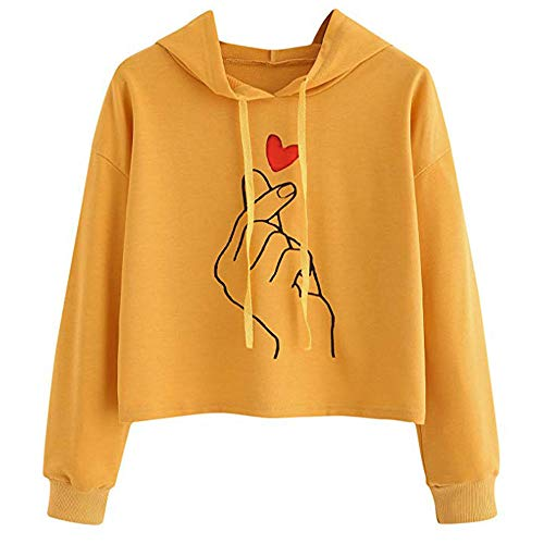 MYMYG Damen Kapuzenpullover Hoodie Langarm Sweatshirt Brief Drucken Top Bluse Shirt Female Hoody (Orange,EU:34/CN-S)