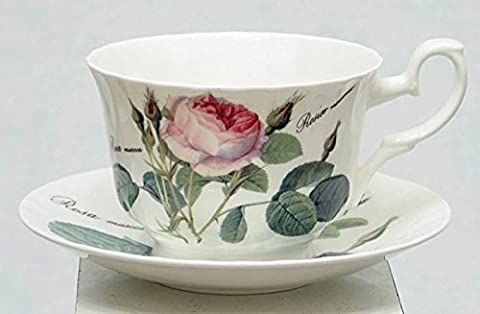 Roy Kirkham Redoute Rose Breakfast Cup and Saucer (Set of 2)